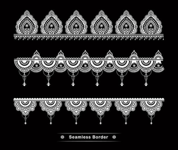 Hohe details des nahtlosen mandala-grenzdesigns