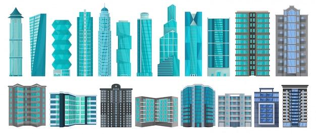Hohe gebäudekarikatursatzikone. illustration illustration wolkenkratzer auf weißem hintergrund. cartoon set icon high building.