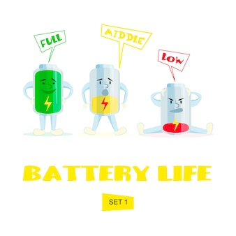 Hohe, mittlere und schwache batterie. comic akkuladung.