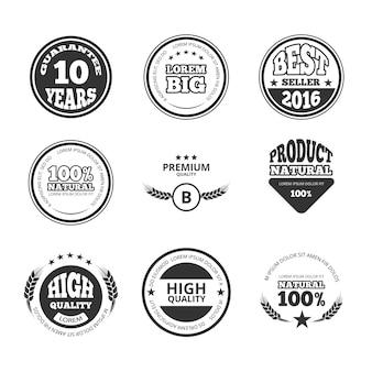 Hohe qualität, premium, garantie vintage-vektor-wachs versiegelt etiketten, abzeichen und logos. garantiebanner