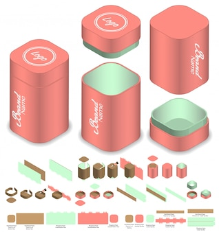 Hohe runde ecke box verpackung vorgestanzte template-design. 3d-modell
