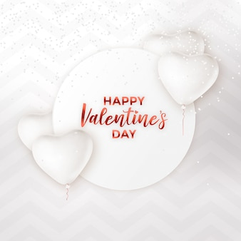 Hohe schlüsselkarte des weißen valentinstags mit ballonen