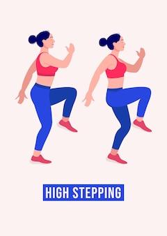Hohe stepping-übung frau workout fitness aerobic und übungen