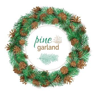 Hoher detaillierter weihnachtskranz lokalisiert auf weißem hintergrund. tannenzweige und zapfen.