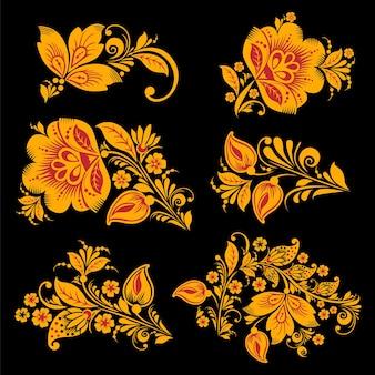 Hohloma dekorelementkollektion. klassisches khokhloma-blumenset