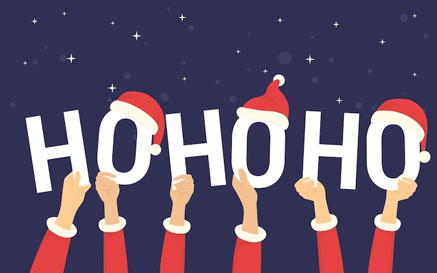 Hohoho-briefe mit weihnachtsmützen für weihnachtsfeier und grußkonzept-vektorillustration von glücklichen menschen, die den feiertag feiern. flache menschliche hände halten buchstaben ho-ho-ho auf schwarzem hintergrund