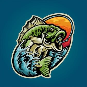 Holen sie sich bass fisch illustration
