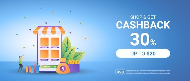 Holen sie sich cashback vom online-einkauf. belohnungsprogramm für treue kunden.