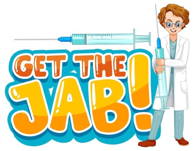 Holen sie sich die jab-schriftart im cartoon-stil mit einem arztmann