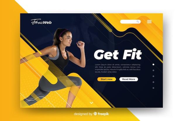 Holen sie sich fit sport landing page mit foto
