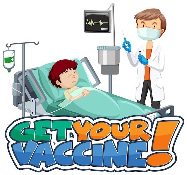 Holen sie sich ihr impfstoff-font-banner mit der zeichentrickfigur von patient und arzt