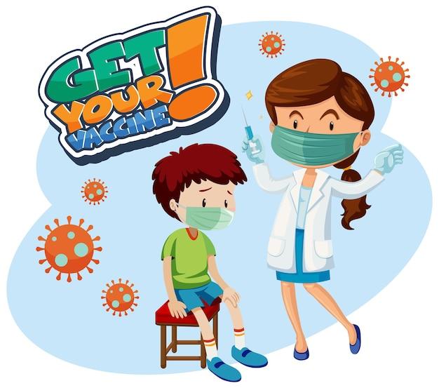 Holen sie sich ihr impfstoff-schriftbanner mit einem jungen, um einen covid-19-impfstoff zu erhalten