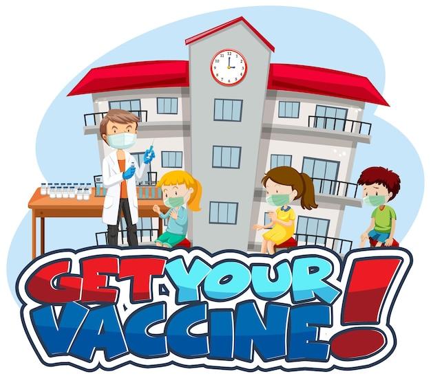 Holen sie sich ihr impfstoff-schriftbanner mit vielen kindern, die in der warteschlange warten, um einen covid-19-impfstoff zu erhalten