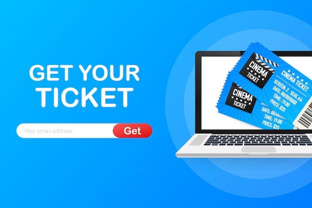 Holen sie sich ihr ticket online. online-bestellungskonzept der kinofilmkarte.