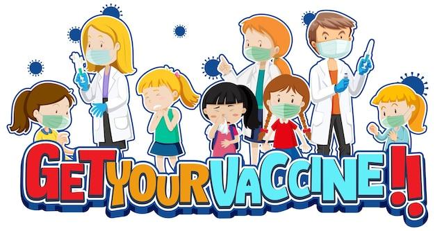 Holen sie sich ihre impfstoff-schriftart mit vielen kindern, die in der warteschlange warten, um einen covid-19-impfstoff zu erhalten