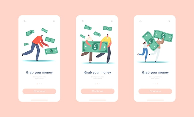 Holen sie sich ihre onboard-bildschirmvorlage für die money mobile app-seite. winzige charaktere mit riesigen dollarnoten. geschäftswachstum, reichtum und wohlstand, investitionskonzept. cartoon-menschen-vektor-illustration