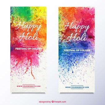 Holi banner mit farbe bespritzt