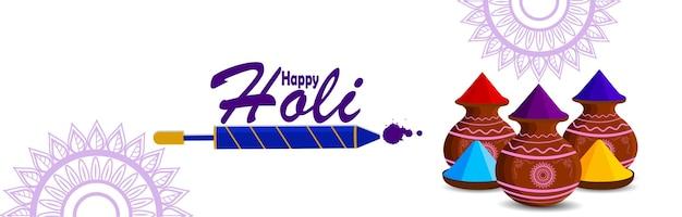 Holi banner mit schlammfarbtopf und farbpistole