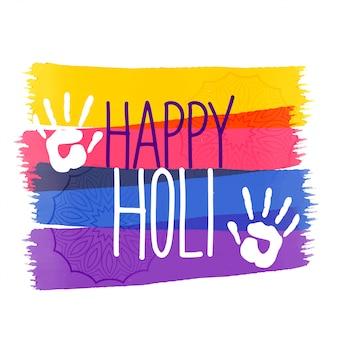 Holi färbt festivalhintergrund mit handeindruck