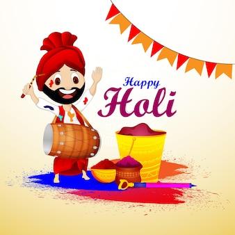 Holi feier hintergrund mit zeichentrickfigur