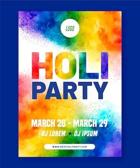 Holi festival aquarell flyer vorlage