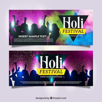 Holi festival banner mit silhouetten tanzen Kostenlosen Vektoren