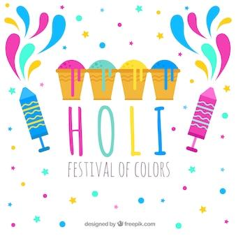 Holi-festival des farbhintergrundes im flachen design