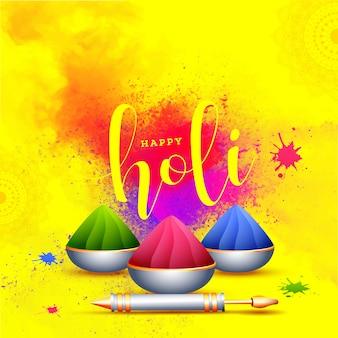 Holi festival-feierhintergrund mit schüsseln voll trockenem colo