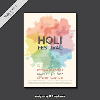 Holi festival-flyer mit dekorativen flecken in verschiedenen farben