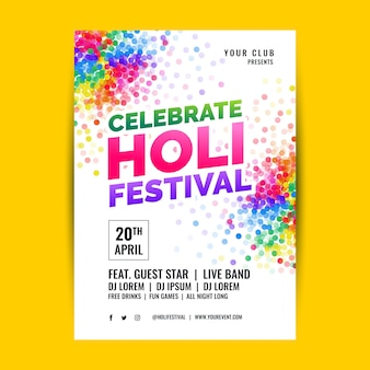 Holi festival flyer vorlage im flat design