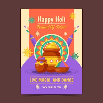 Holi festival flyer vorlage