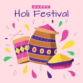 Holi festival hand mit farbe gezeichnet