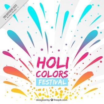 Holi festival hintergrund mit bunten spritzern
