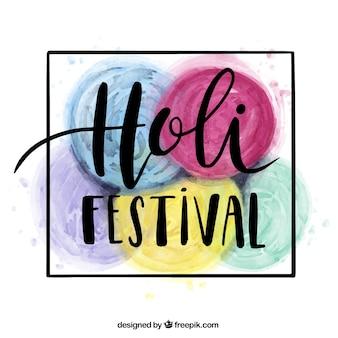 Holi festival hintergrund mit fünf bunten runden flecken