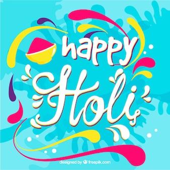 Holi festival hintergrund mit schriftzug design