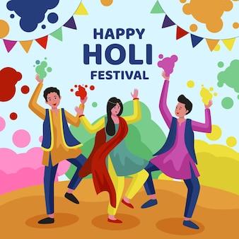 Holi festival illustration mit menschen
