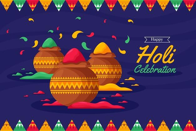 Holi festival in flacher bauform