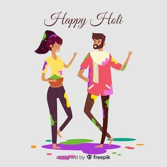 Holi festival menschen hintergrund