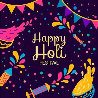 Holi festival mit farbe und farben
