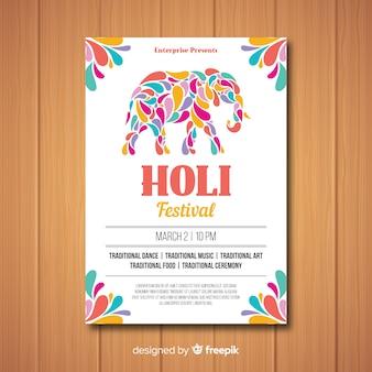 Holi festival party flyer vorlage