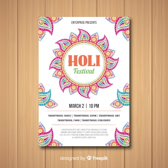 Holi festival party flyer vorlage