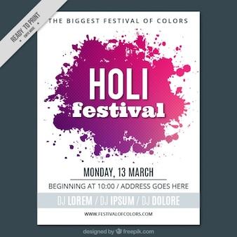 Holi-festival-plakat mit farbflecken