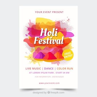 Holi festival plakat vorlage