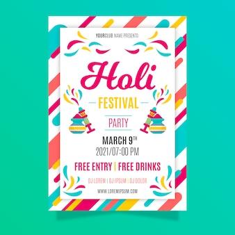 Holi festival plakatvorlage im flat design