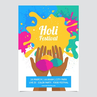 Holi festival poster vorlage Kostenlosen Vektoren