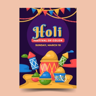 Holi festival poster vorlage