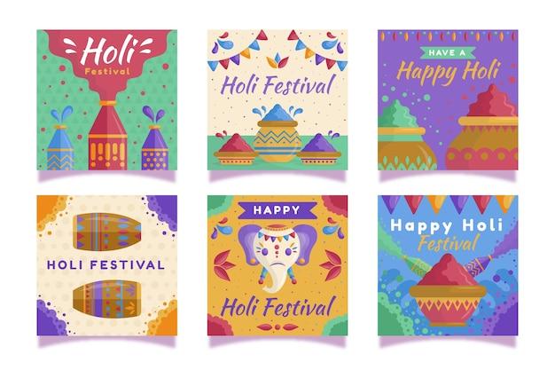 Holi festival thema für instagram beitrag