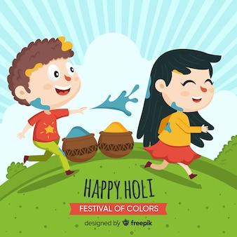 Holi festivalhintergrund der karikaturfreunde