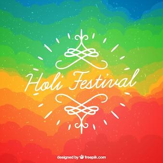 Holi festivalhintergrund im flachen design mit einem regenbogeneffekt