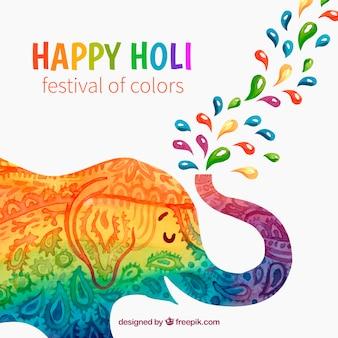 Holi festivalhintergrund mit buntem elefanten